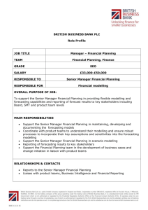 BRITISH BUSINESS BANK PLC Role Profile JOB TITLE Manager
