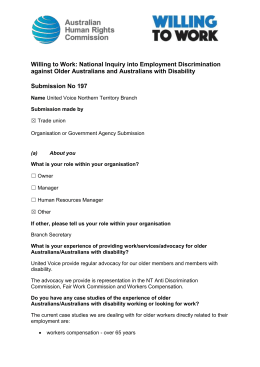United Voice NT Branch - organisation (age, disability)