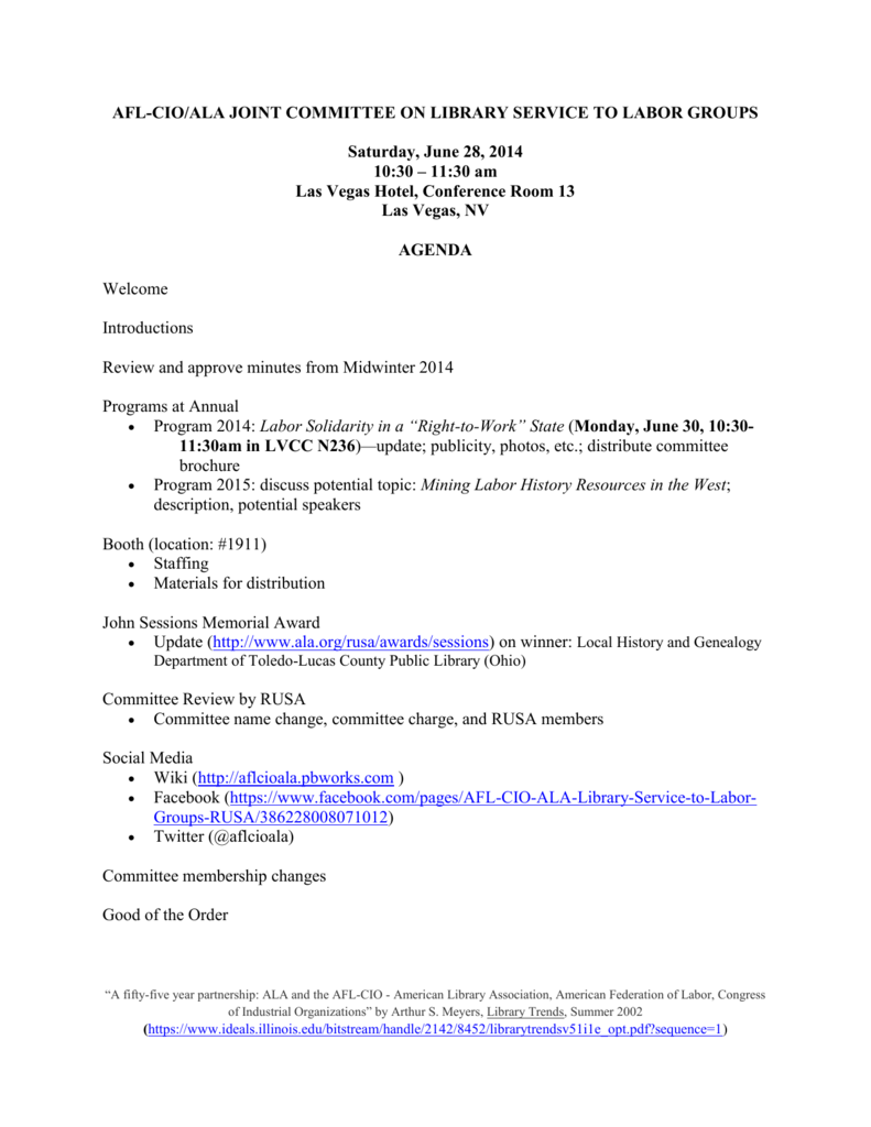 AFL-CIO-ALA Committee Meeting Agenda