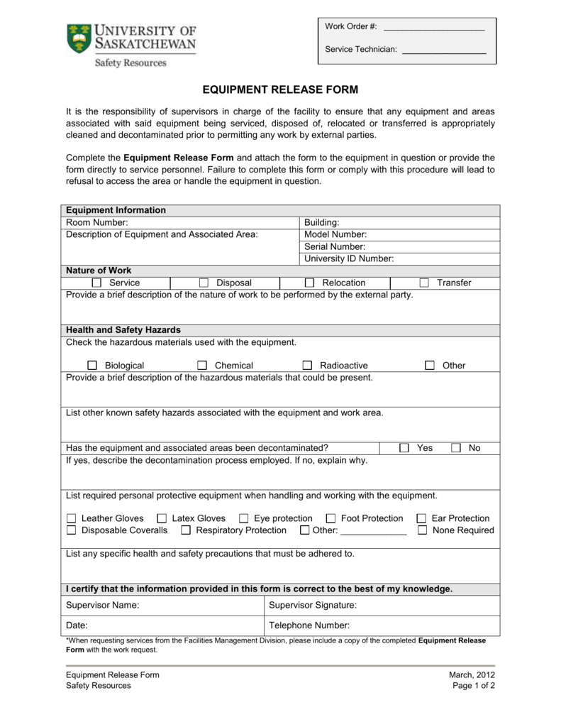 EQUIPMENT or AREA RELEASE FORM