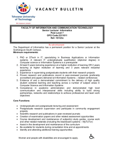 Senior Lecturer- Informatics - re-advertisement