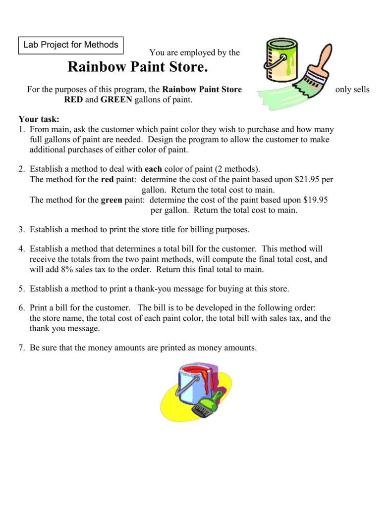Rainbow Paint Store Method Project