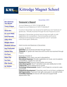 Treasurer Report - Kittredge Magnet School PTA