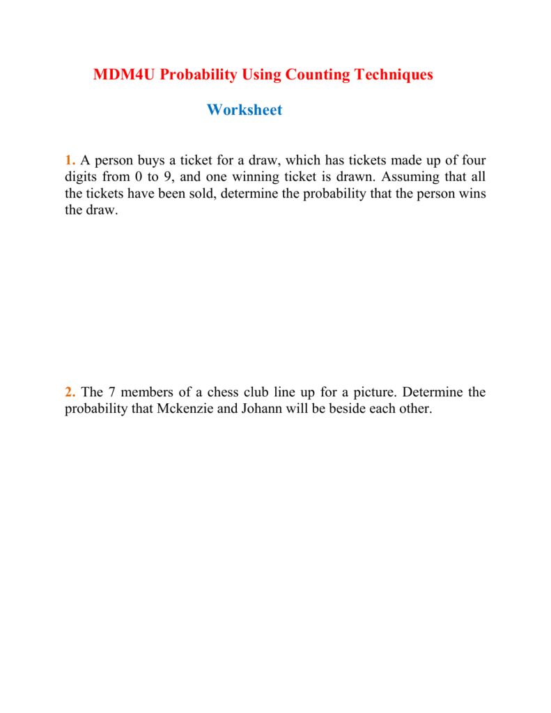worksheet Probability And Odds Worksheet probability problems worksheet 5th grade math multiplication fifth mdm4u probabilities using counting techniques 007216333 1 222622c3a11621df56f3bd67f9a518c5 c