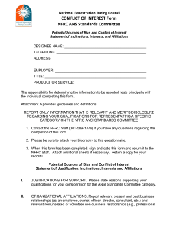 ANS Standards Committee Conflict of Interest Form