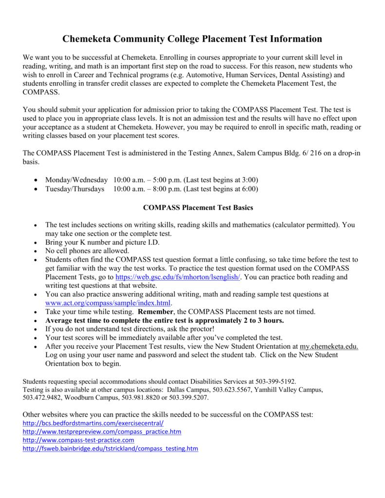 Chemeketa Community College Placement Test Information