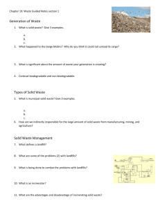 Chapter 19: Waste Guided Notes section 1 Generation of Waste