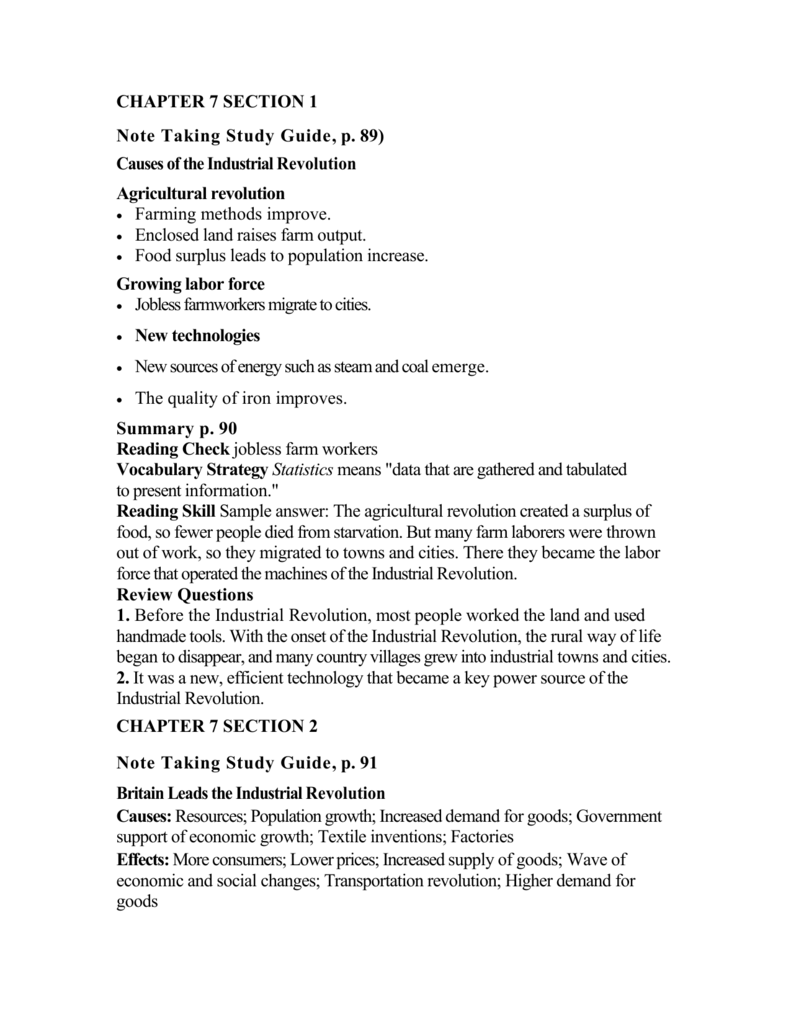 CHAPTER 7 SECTION 1 Note Taking Study Guide, p. 89) Causes of