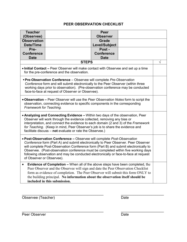 pre observation form - Anta.expocoaching.co