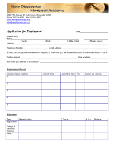 Employment Application - New Discoveries Montessori Academy