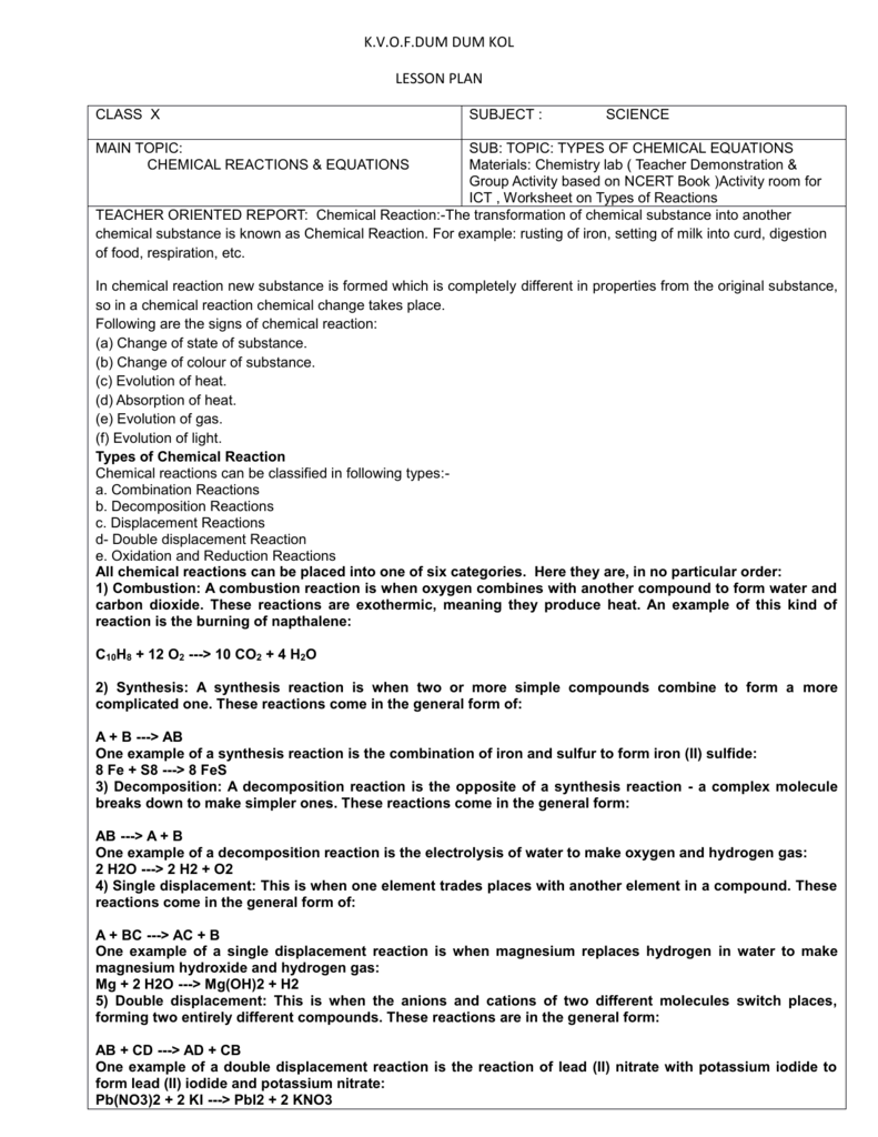 Worksheets Six Types Of Chemical Reactions Worksheet lesson plan e ctlt
