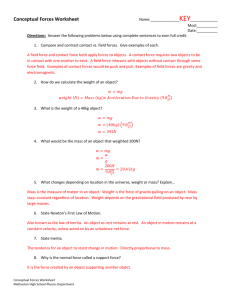 Conceptual Forces Worksheet