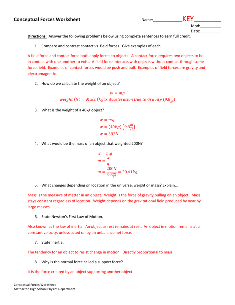 Worksheets Calculating Net Force Worksheet conceptual forces worksheet