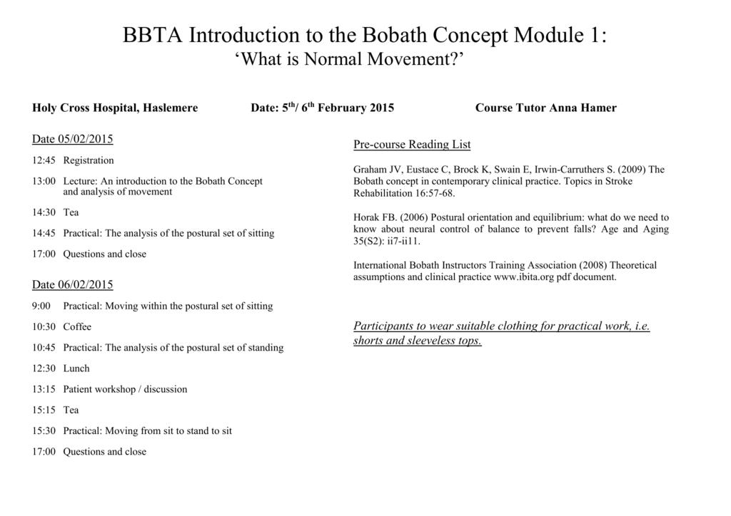 Bbta Introduction To The Bobath Concept Module 1