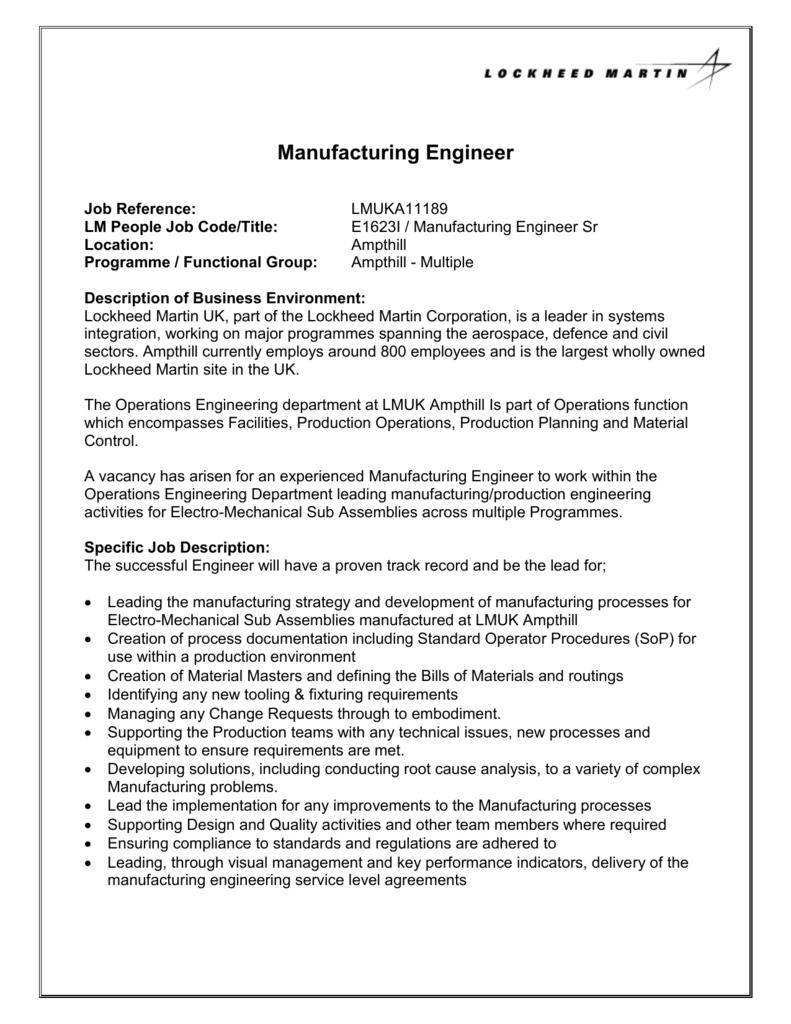 Manufacturing Engineer Job Description | Manufacturing Engineer