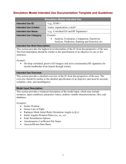 Simulation Model Intended Use Documentation Template