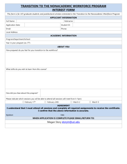 Transition to the Nonacademic Workforce Program Interest Form