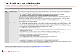 Years 7 and 8 band plan: Digital Technologies