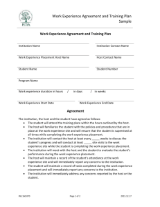 Work Experience Agreement and Training Plan