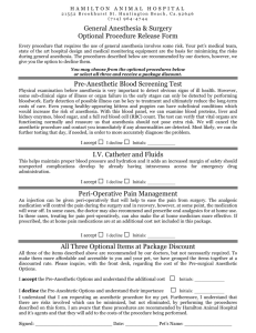 Anesthetic Options Form - Hamilton Animal Hospital