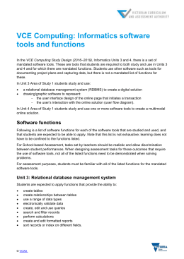 VCE Computing: Informatics software tools and functions