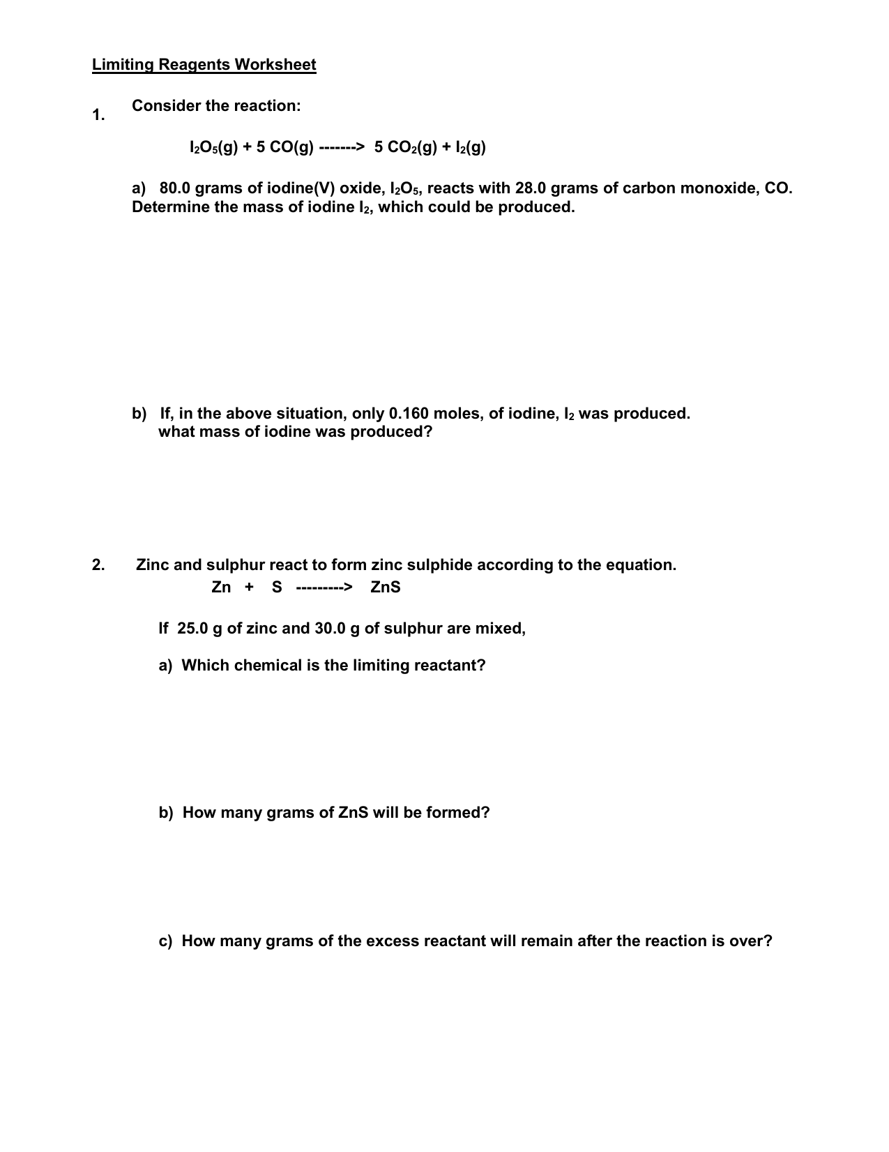 Limiting Reagents Worksheet – Limiting Reactant Problems Worksheet