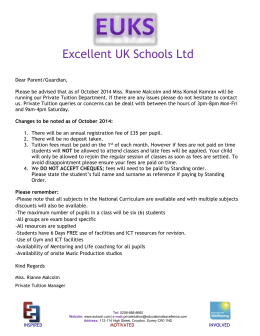 Private Tuition Fee Structure from September 2014