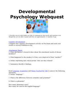 Developmental Psychology Webquest