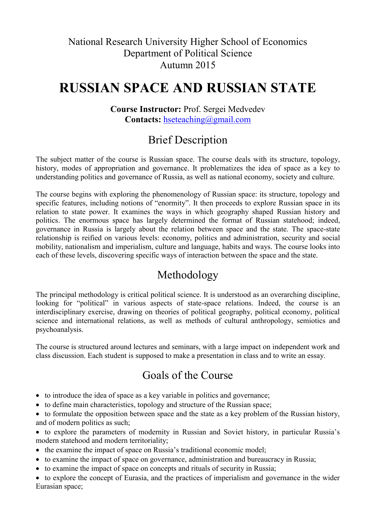 Medvedev RSRS Syllabus 2015