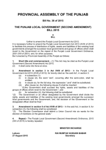 (Second Amendment) Bill 2015 - Provincial Assembly of Punjab