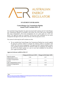 Statement of Reasons - 2014-15 Annual tariff variation