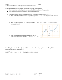 3-4 Polynomial Division and Q
