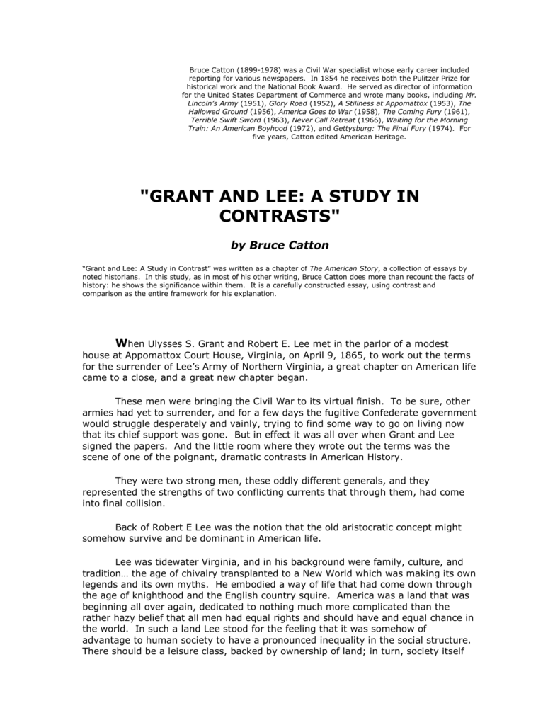 bruce cattons essay grant and lee a study in contrasts