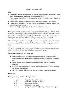 Summary of marking policy - Hutton Church of England Primary