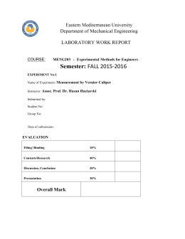 Experiment #1 - Department of Mechanical Engineering