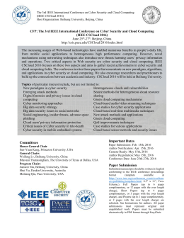The 3rd IEEE International Conference on Cyber Security and Cloud