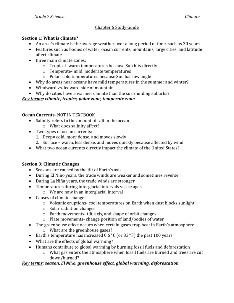 Grade 7 Science Climate Chapter 6 Study Guide Section 1: What is