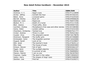 New Adult fiction hardback – November 2015 Author Title ISBN/EAN
