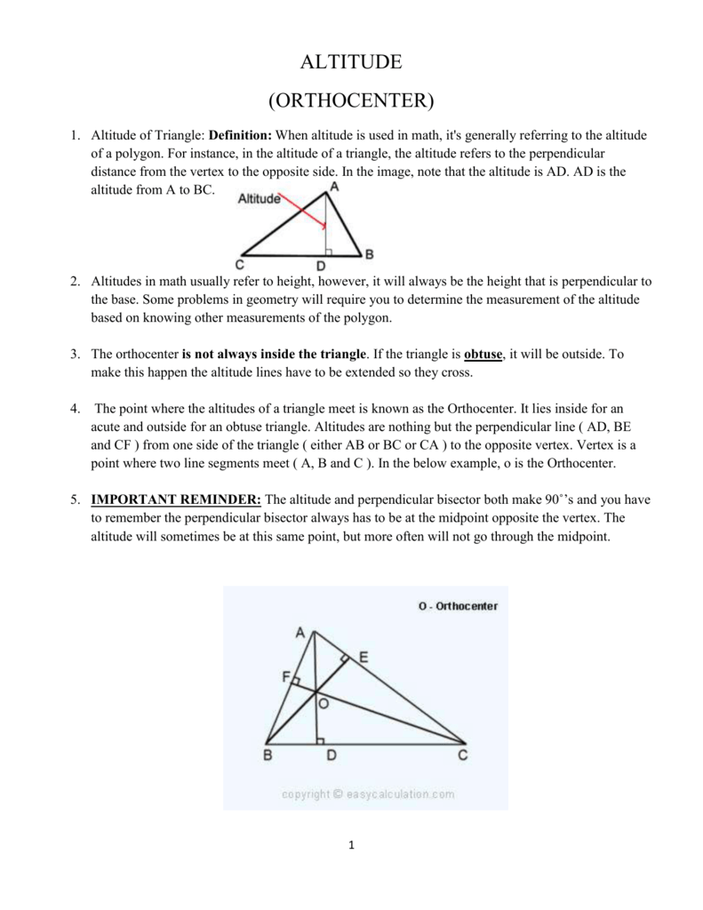 Altitude Orthocenter Altitude Of Triangle Definition When