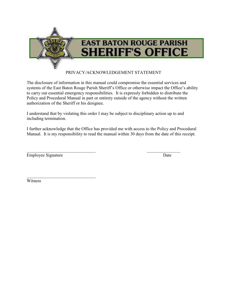 Policy - East Baton Rouge Sheriff`s Office