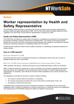 Worker representation by Health and Safety