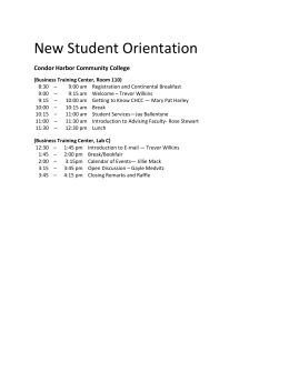New Student Orientation Schedule