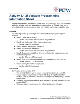 Activity 3.1.2f Variable Programming Information Sheet
