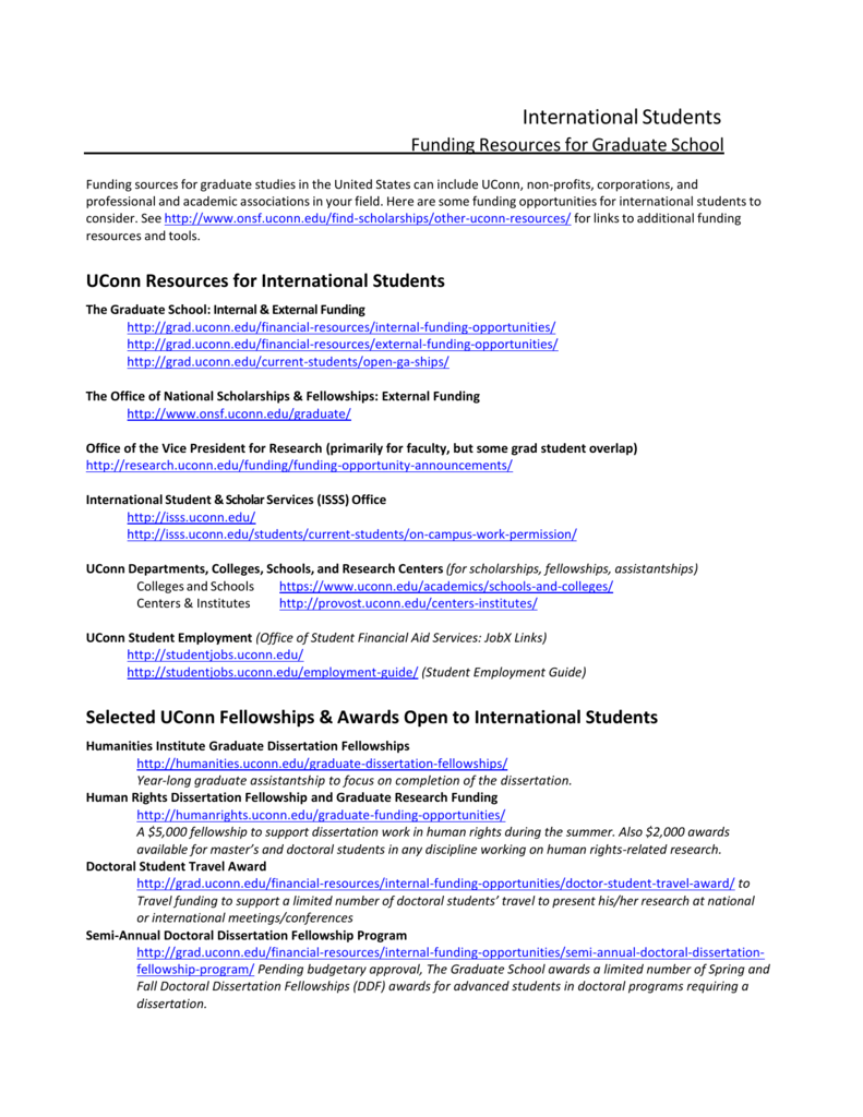 doctoral dissertation fellowship uconn