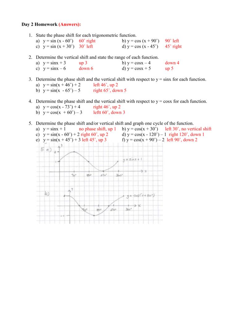 Day 2 Homework answers