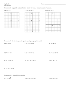 Unit 2 Review Sheet