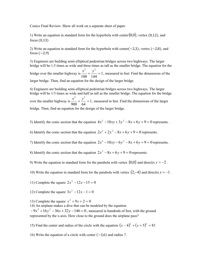 Write an equation in standard form for the hyperbola falaconquin