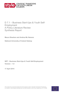 D7.1 Business Start-Ups Youth Self-Employment Policy