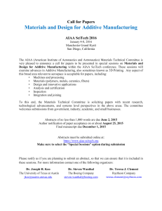 Materials and Design for Additive Manufacturing