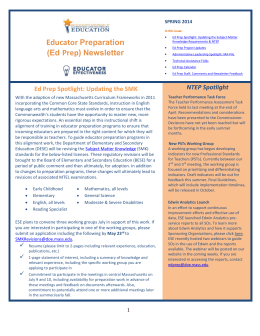 Ed Prep Newsletter Spring 2014 - Massachusetts Department of